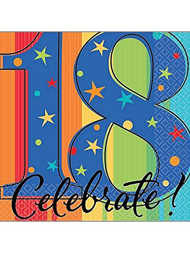 "Amscan Must-Have Beverage Table Napkins with A Year to Celebrate Theme ""18"", Multicolored, 5""x5"""
