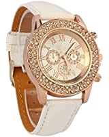 Tonsee Bling Crystal Dial Quartz Analog Leather Bracelet Wrist Watch (White)