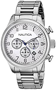 Nautica Men's N17663G BFD 101 CHRONO Analog Display Quartz Silver Watch