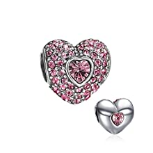 Fashional Pink Crystal Heart Charm 925 Sterling Silver Soufeel Compatible