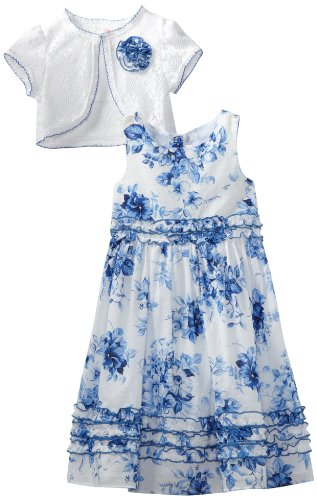 Youngland Girls 2-6X Floral Clip Dot Dress, White/Blue, 4