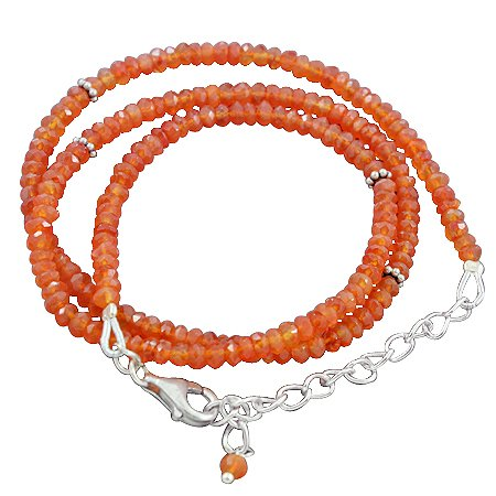 925 Sterling Silver 9 gms Carnelian Gemstone Beads Strand Necklace Size 18 Inches