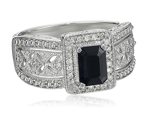 Sterling-Silver-Sapphire-and-Diamond-Art-Deco-Ring-013-cttw-I-J-Color-I2-I3-Clarity-Size-7