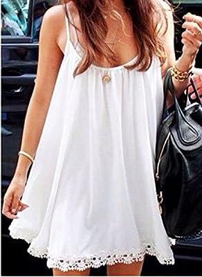PS Women's Casual Loose Thin Straps Crochet Hem Summer Beach Mini Dress