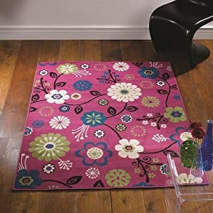 Flair Rugs Element Bohemia Floral Rug, Pink, 80 x 150 Cm from Flair Rugs