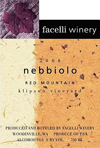 2008 Facelli Winery Klipsun Vineyard Nebbiolo 750 Ml