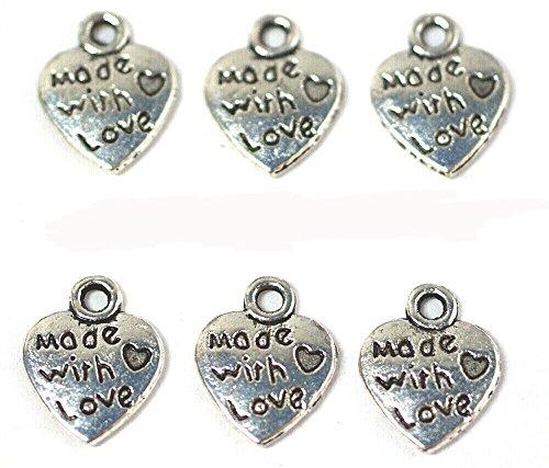 """JSB, Confezione di 25 ciondoli a forma di cuore, con scritta """"Made with love"""" [lingua inglese], colore: argento, inciso su entrambi i lati, con anelli per aggancio inclusi, (Ref 2E11)"""