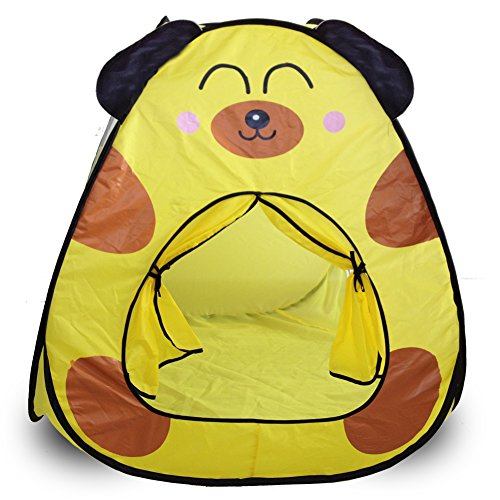 IndoorOutdoor-Children-Play-Tent-Portable-Kids-Playhouse-Tents-Safe-and-Sturdy-Game-Playing-TentCute-Dog-Patten-Yellow