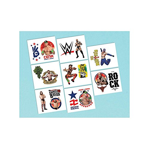 Amscan Grand Slammin' WWE Party Temporary Tattoos (16 Piece), Multi