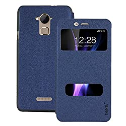 Heartly GoldSand Sparkle Luxury PU Leather Window Flip Stand Back Case Cover For Coolpad Note 3 / Coolpad Note 3 Plus - Power Blue