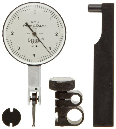 "Brown & Sharpe 599-7023-3 Dial Test Indicator Set, Top Mounted, M1.4X0.3 Thread, White Dial, 0-4-0 Reading, 1.5"" Dial Dia., 0-0.008"" Range, 0.0001"" Graduation, +/-0.0001"" Accuracy"