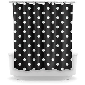 opima black polka dot shower curtain home kitchen. Black Bedroom Furniture Sets. Home Design Ideas