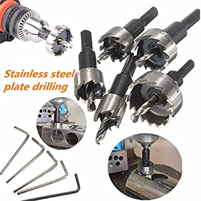 Mohoo 5PCS 16-30MM HSS Drill Bit Hole Saw Set Stainless High Speed Steel Metal Alloy by MOHOO Co.,LTD