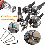 Mohoo 5PCS 16-30MM HSS Drill Bit Hole Saw Set Stainless High Speed Steel Metal Alloy