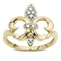 14k Yellow Gold Fleur-de-lis Diamond Ring (.03 ct, I-J Color, I2 Clarity), Size 7