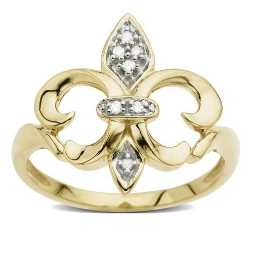 Fleur-de-Lis Diamond Ring with 14k Yellow Gold