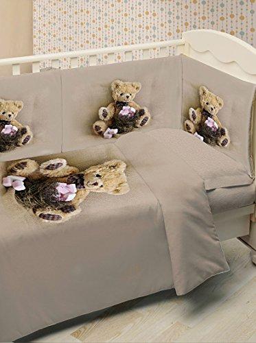 Ipersan Funny Bear Fine-Art Set 3 pezzi Completo Lettino Fotografico, Cotone, Beige/Marrone