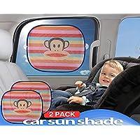 Car Sun Shade (2 Pack) - Baby Car Window Shades Blocking Over 97% UV Rays (Rainbow)