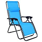Odaof Zero Gravity Recliner Lounge Patio Pool Chair (Light Blue)