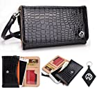Black Patent Leather Wallet Wristlet carrying cover case for Samsung I9305 Galaxy S III including Built-In Credit Card Slots and Detachable Wristlet+ NuVur ™ Keychain (ESMXDVK1)