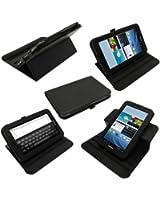 igadgitz Noir Étui Housse Rotatif 360° Détachable en Cuir PU pour Samsung Galaxy Tab 2 P3100 P3110 7.0 3G & WiFi Android 4.0 Internet Tablet + Protecteur d'écran