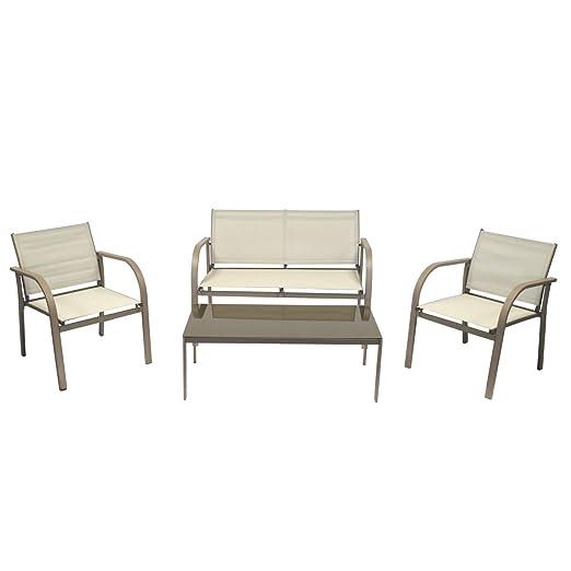 Bentley Garden - Gartenmöbel-Set mit Netzstoff - moderner Stil - Grau oder Creme - Creme