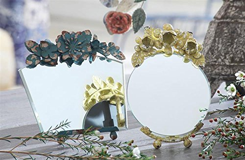 Creative Co-Op Mirror With Distressed Blue Metal Flowers front-693061