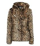 Pilot shauna capuchon manteau de fourrure imprimé léopard avec pompons en Marron, taille UK 8 (FR 36)