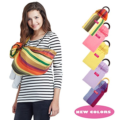 Mamaway Ring Sling Baby Carrier - One Size Fits All - Easy On Your Back - Comfort For Your Baby - Can Be Used For Different Positions - Breastfeeding Privacy - Banana Smoothie