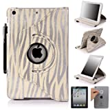 E LV 360 Degrees Rotating Stand Luxury Zebra Design PU Leather Case for Apple New iPad Mini with Automatic Wake and Sleep function+1 Black Stylus, 1 Screen Protector and E LV Microfiber Sticker Digital Cleaner (Zebra Silver, iPad Mini)