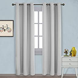 MimosaQ Thermal Insulated Grommet Blackout Window Curtain - Back Tab/ Rod Pocket for Living Room, 2 Panels