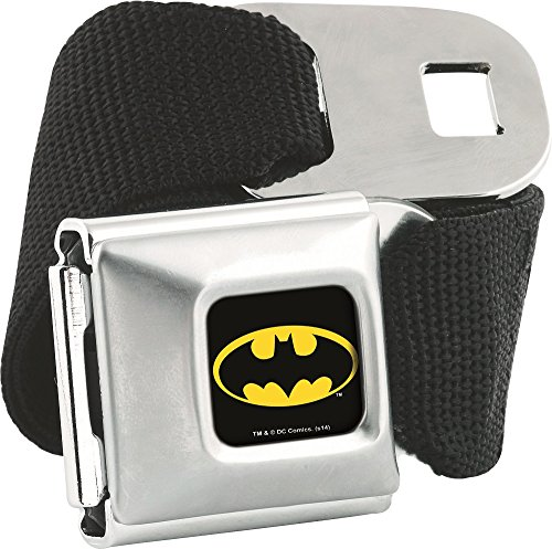 Batman Solid Black with Logo Buckle Seatbelt Belt (Seatbelt Belt Black compare prices)