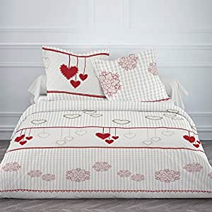 housse de couette flanelle 220x240 2 taies winter heart. Black Bedroom Furniture Sets. Home Design Ideas