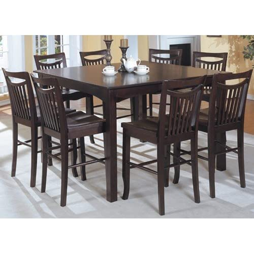 Com Mahogany Finish Counter Height Dining Table 8 High Chairs Set