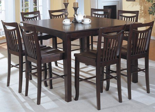 Mahogany Finish Counter Height Dining Table & 8 High Chairs Set