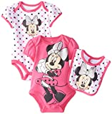 Disney Baby Baby-Girls Newborn Minnie Mouse 3 Piece Soft Bodysuit and Bib Set,Pink, 0-3 Months