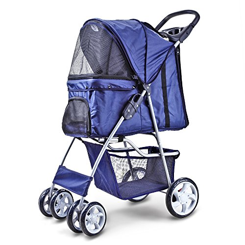 Flexzion Pet Stroller (Deep Blue) Dog Cat Small Animals Carrier Cage 4 Wheels Folding Flexible Easy Walk for Jogger Jogging Travel Up to 30 Pounds With Rain Cover Cup Holder and Mesh Window