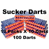 100 Soft Blue SUCKER or Suction Darts refill: Refill for Nerf N-strike Elite Rampage/Retaliator Series Blasters, Beebuzz,and Most OF NERF GUNS!, By BlaydesSales