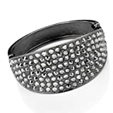 Crystal Hinged Fashion Bangle Hematite