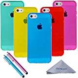iPhone 5s Case, Wisdompro® 5 Pack Bundle of Clear Jelly Colorful Soft TPU GEL Protective Case Covers (Blue, Aqua Blue, Hot Pink, Yellow, Red) for Apple iPhone 5 / 5s
