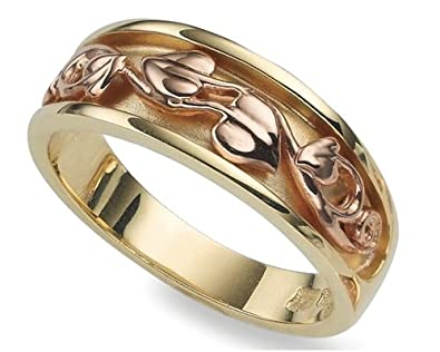 Clogau Gold 9ct Yellow & Rose Gold Extra Wide Ivy Leaf Ring
