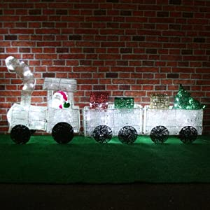 Extra large pre lit 3d christmas train with 2 carriage for Outdoor christmas train decoration