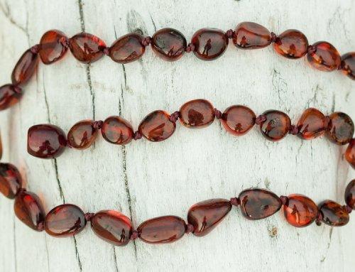 Olive Shape Baltic Amber Teething Necklace