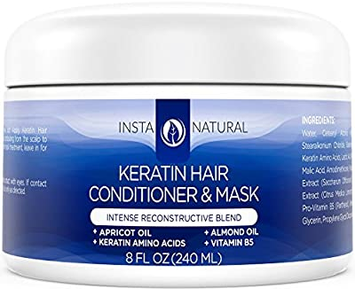 InstaNatural Keratin Hair Mask Treatment - Best Professional At Home Brazilian Conditioner Treatment for Dry & Damaged Hair - Smoothing & Strengthening Straight Hair Reconstructor Formula - 8 OZ