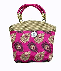 Kuber Industries Women Mini Handbag 10*10 Inches in Stylish Design With Fancy Brocade, Wed...
