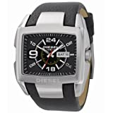 Diesel Brushed/polished Stainless Steel Black Leather Adjustable Strap Watch Dz1215