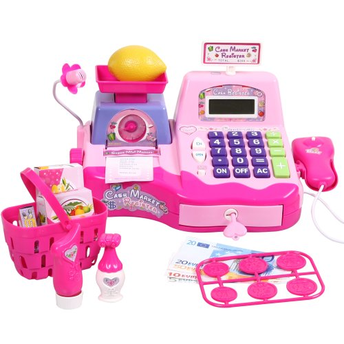 Big Dragonfly High Quality Happy Babies Pretend And Play Supermarket Cash Register Kits For Kids Childrenfs Cool Educational Toys Exquisite Gift Box Package Pink front-803345