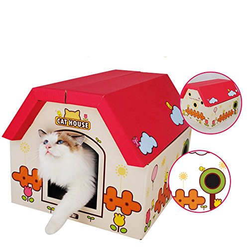 Rlley Unique Cute Portable Removable Outdoor&Indoor Pet House Kitty House for Cat, Kitty or Puppy Bed,Cat Toy,Scratcher Play House (Ferrel Cat House compare prices)