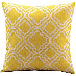 Createforlife Cotton Linen Decorative Throw Pillow Case Cushion Cover Argyle Pattern Lemon Square 18""