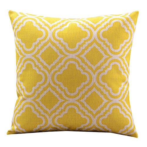 "Beety New Cotton Linen Decorative Pillowcase Throw Pillow Cushion Cover Argyle Pattern Lemon Square 18"""